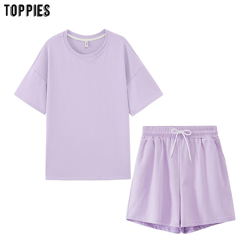 Toppies Summer Tracksuits Womens Two Peices Set Leisure Outfits Cotton