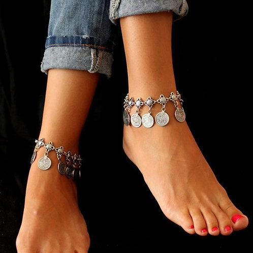 KMVEXO  2020 Summer Style Vintage Bohemian Metal Tassel Anklet Luxury
