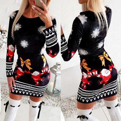 Christmas Bodycon Dresses for Women 2020 Fashion Xmas Print