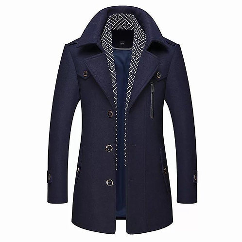 Men's Business Casual Long Wool & Blends New Male Autumn Single