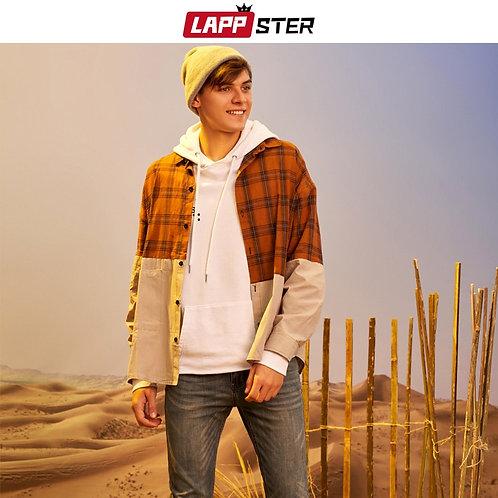 LAPPSTER Men Plaid Patchwork Long Sleeve Shirt 2020 Korean