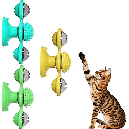Interactive Cat Toy Windmill Portable Scratch Hair Brush
