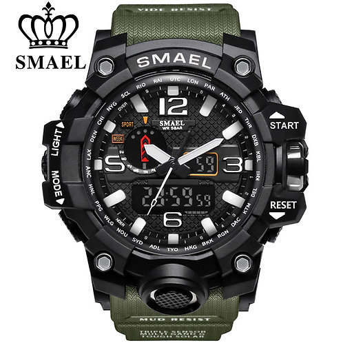 SMAEL Brand Men Sports Watches Dual Display Analog Digital LED