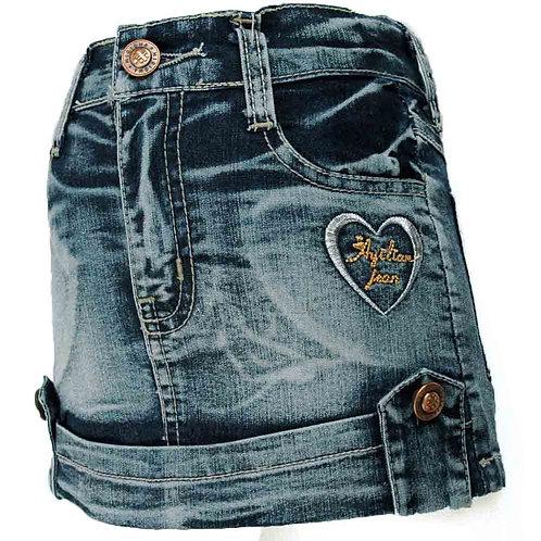 3-7y Tight Dark Blue Denim Skirt Heart Embroidery Rhinestone Girl Skinny MH9117
