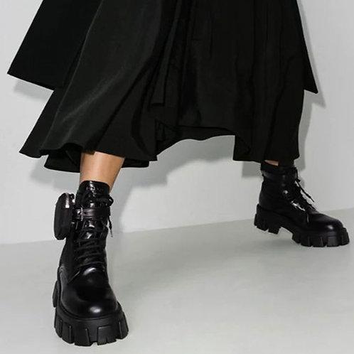 Brand New Square Heels Platform Purse Decoration Military Style