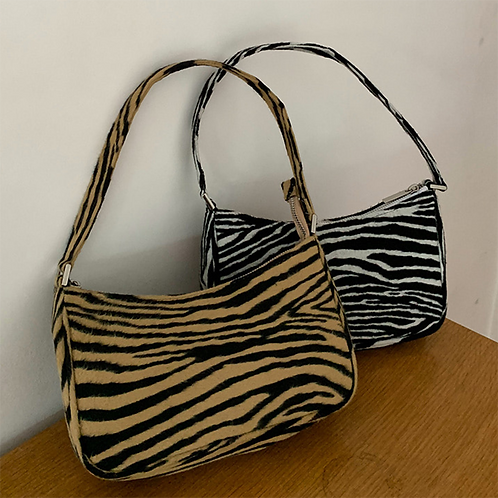 2020 Retro Women Shoulder Bag Velvet Zebra Print Female Messenger