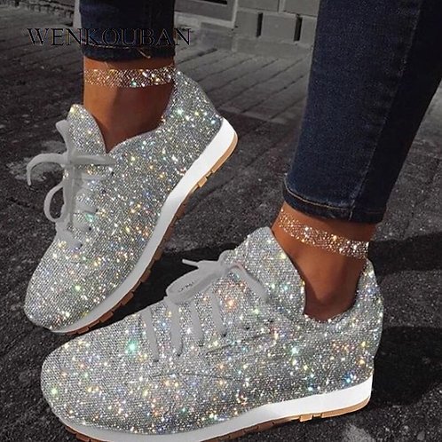 Flat Shoes Women Casual Bling Sneakers Ladies Sequins Shoes New Autumn Winter