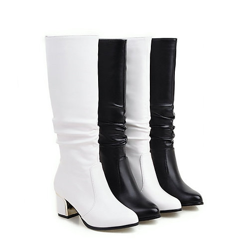 Short Boots White Women With Thick Boots Long Autumn and Winter