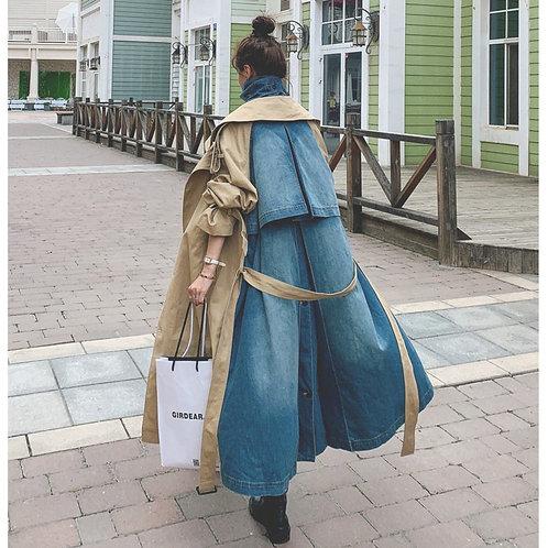 Sharezz 2020 Autumn New Trench Coat for Women Fashion Denim