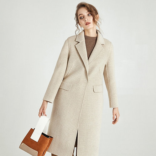 Women S Winter Coat  Beige Dogtooth Double Sided Wool