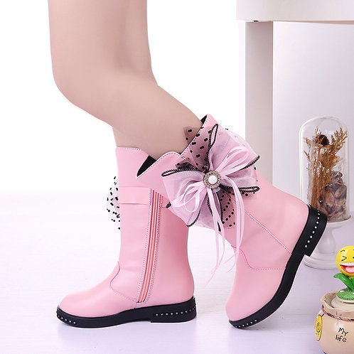 Children'S Winter Boots for Girls Rhinestone Flower Fashion Plush