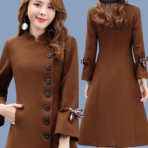 Womens Wool Coats Long Flare Sleeve Black Brown Standing Collar