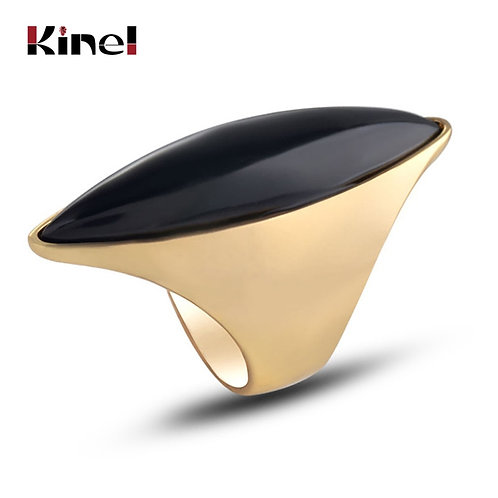 Kinel Hot Black Stone Big Ring for Women Luxury Gold Color