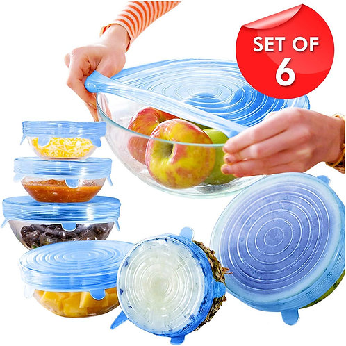6Pcs Reusable Silicone Stretch Cover Food Fresh-Keep Sealing Cover
