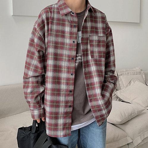 Plaid Shirt Men's Fashion Retro Casual Shirt Man Streetwear