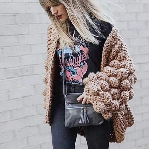 Hand Knitted Crochet Sweater Cardigan 3D Floral Hook