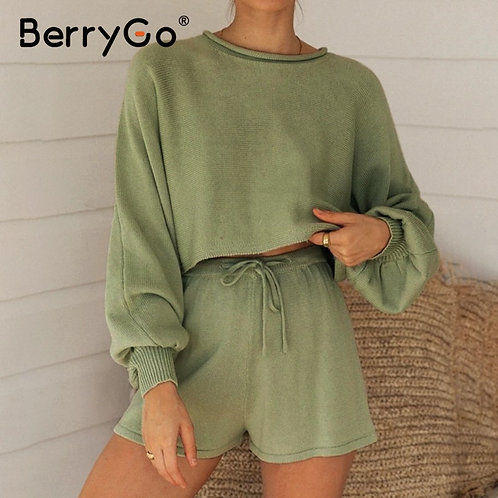 BerryGo Casual Knitted Summer Women Suit Bubble Long Sleeve