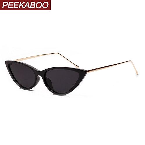 Peekaboo Retro Cat Eye Sunglasses White Women's Half Metal