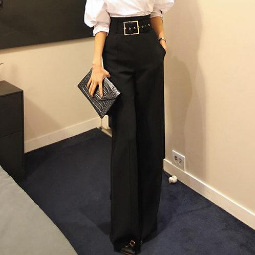 2020 Workwear Formal Black Straight Pants High Waist Pantalon