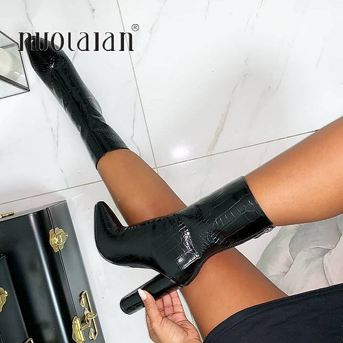 High Quality Women Ankle Boots Zip Pointed Toe Footwear