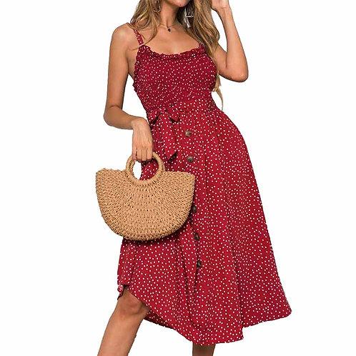 Sexy Summer Sleeveless Slip Dress Women Strapless Bow Button