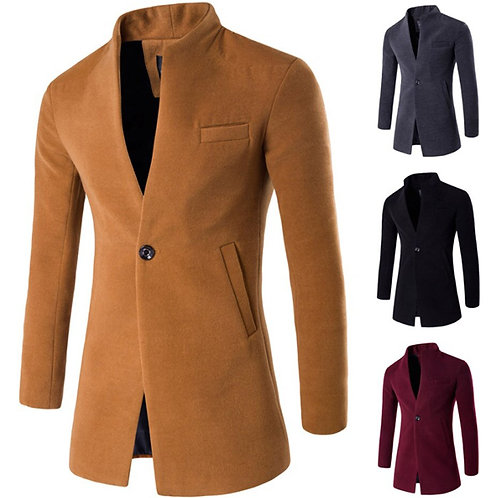 ZOGAA 2019 Wool Coat Men Winter Long Coat Slim Cardigan