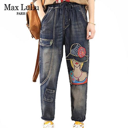 Max LuLu Autumn European Fashion Luxury Brand Elastic Jeans
