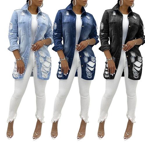 Sexy Fashion Women's Torn Denim Jacket 2020 Fall