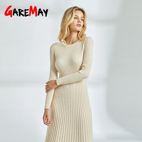 Women's Autumn Dress Knitted Winter Warm Long Sleeve Knee