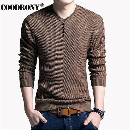 COODRONY Sweater Men Casual V-Neck Pullover Men Autumn
