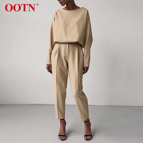 OOTN Casual High Waist Khaki Pants Women Summer Spring Brown