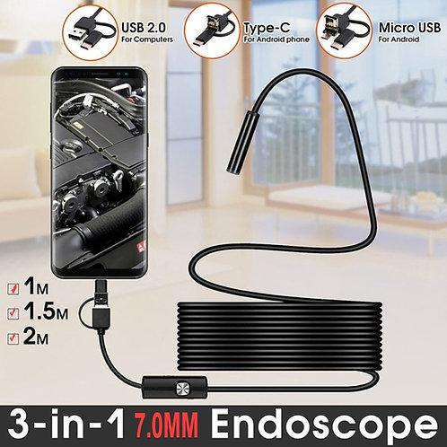 TYPE C USB Mini Endoscope Camera 7mm 2m 1m 1.5m Flexible Hard Cable