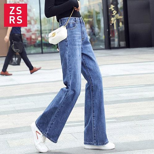 Zsrs Women Jeans Pants Leisure Loose High Waist Vintage Wide
