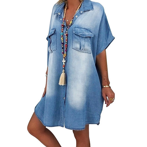 Summer 2020 Fashion Denim Button Down Dress for Women Short