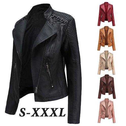 Fall 2020 Women Clothing Leather Jacket Leather Blazer Women