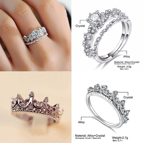 IPARAM Ladies Wedding Zircon Ring 2020 Fashion Geometric Silver