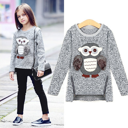 Girls Fleece Lined Zipper Sweater Cartoon Cute Owl Casual Cotton
