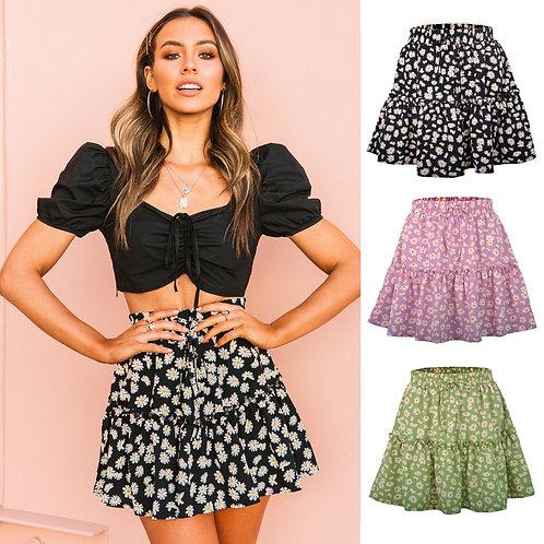 Harajuku Daisy Skirt 2020 Summer New Women Floral Skirt