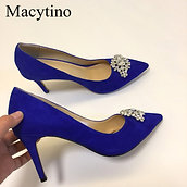 Pointed Toe Stiletto High Heel Dress Shoes Royal Blue Suede