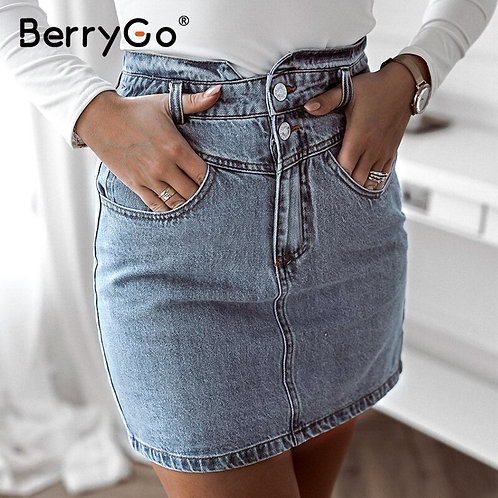 BerryGo Sexy Slim-Fit High-Waist Women Denim Skirt Casual Double Breasted