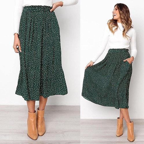 White Dots Floral Print Pleated Midi Skirt Women Elastic High