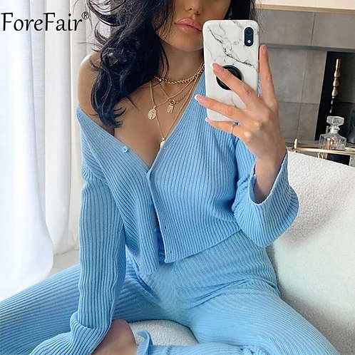 Forefair v Neck Blue Long Sleeve Button Ribbed Knit Sexy Women