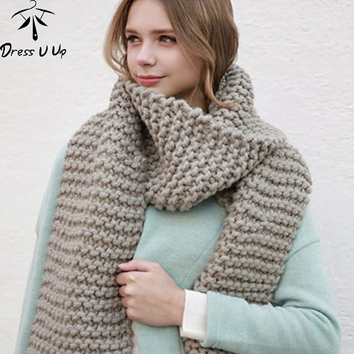 Dress U Up 2020 New Solid Color Thick Wool Scarf Female Autumn and Winter