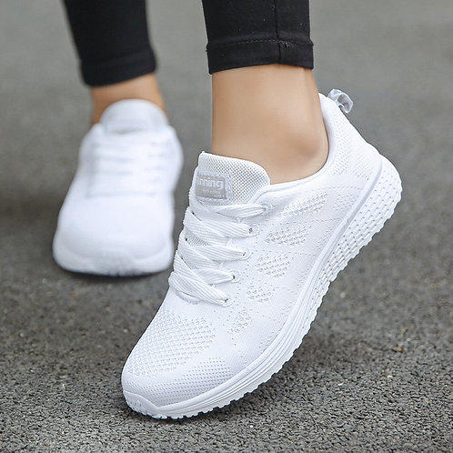 Women Casual Shoes Fashion Breathable Walking Mesh Flat Shoes