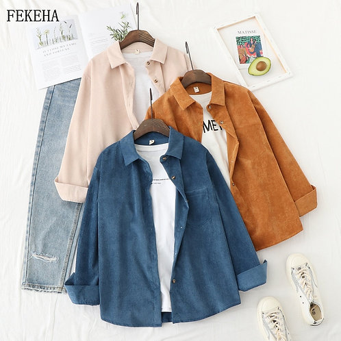 Autumn Jackets Women Corduroy Shirts Loose Long Sleeve Solid Lady Tops