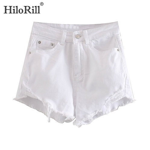 HiloRill Women Solid Shorts Jeans Summer 2020 Retro Raw Edge