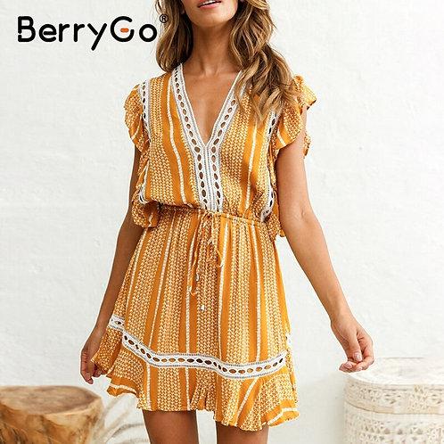 BerryGo Ruffle Sleeveless Boho Dress Women Floral Print High