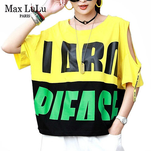 Max LuLu 2020 Summer Fashion Clothes Ladies Off Shoulder Tee Shirt Women