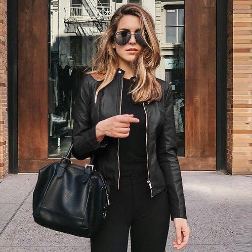 Women Casual Zipper Leather Jackets Motorcycle Long Sleeve