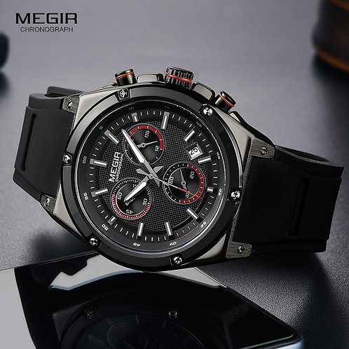 Megir Men Black Silicone Sports Quartz Wrist Watches Luminous